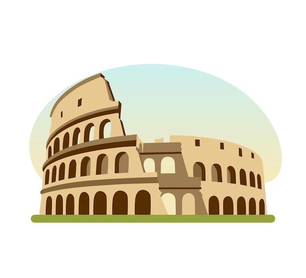 Budynek architektoniczny, zabytek architektury starożytnego rzymu, słynny budynek to koloseum