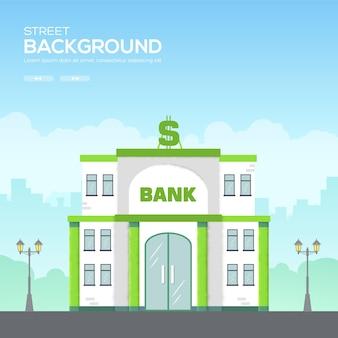 Budynek banku w przestrzeni miasta z koncepcją drogi na syle. tekstura ziarna i efekt szumu.