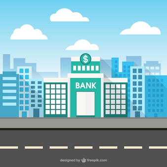 Budynek banku w przestrzeni miasta