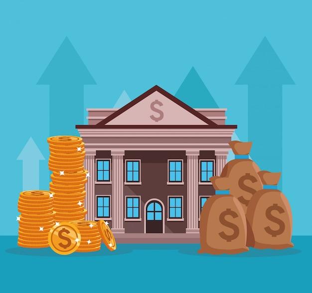 Budynek banku z symbolami pieniędzy