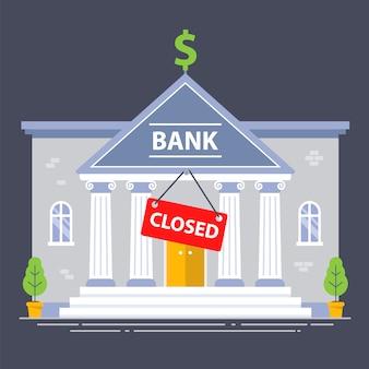 Budynek banku zamknięty z powodu kryzysu gospodarczego. czerwony talerz. płaska ilustracja.