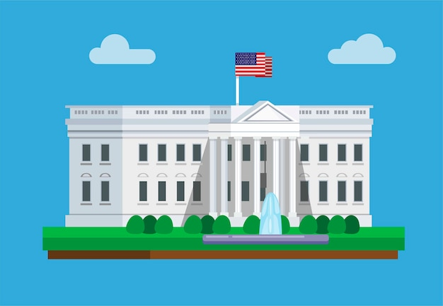 Budynek białego domu w waszyngtonie w ameryce słynnej koncepcji w płaskiej ilustracji kreskówki