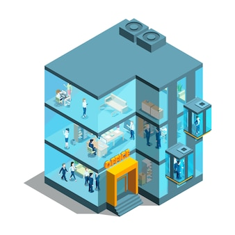 Budynek biznesowy ze szklanymi biurami i windami. izometryczny architektoniczny