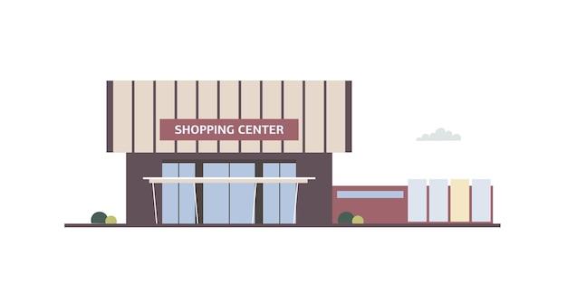 Budynek centrum handlowego z dużymi oknami i markizą w nowoczesnym minimalistycznym stylu architektonicznym