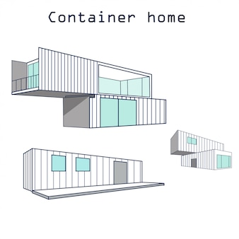 Budynek domu kontener z logo na białym tle
