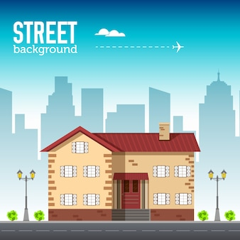 Budynek domu w przestrzeni miejskiej z koncepcją drogi na płaskim tle syle