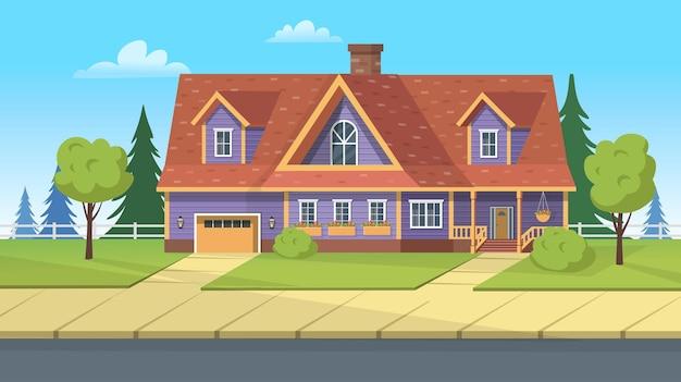 Budynek elewacyjny, podmiejski dom z garażem i zielonym trawnikiem. ilustracja kreskówka wektor do gier lub animacji.