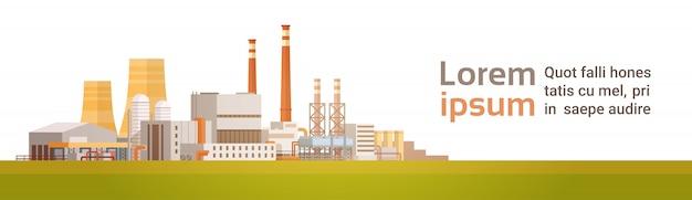Budynek fabryczny zanieczyszczenie roślin banner odpadów rurowych