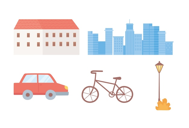 Budynek gród samochód rower i zestaw ikon lampy