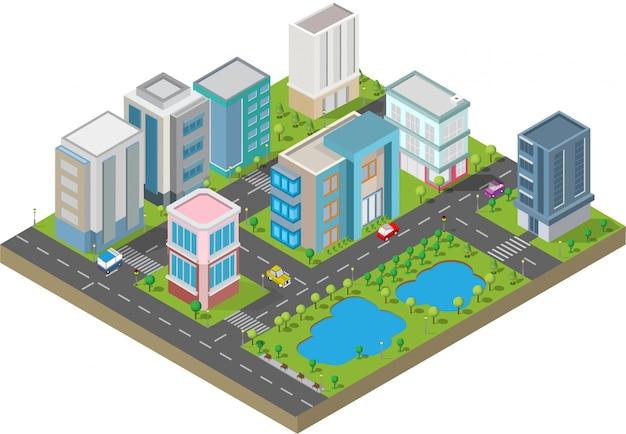 Budynek izometryczny. są na podwórku z drogą i drzewami. inteligentne miasto i park publiczny