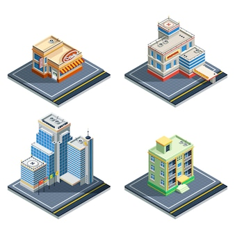 Budynek izometryczny zestaw ikon