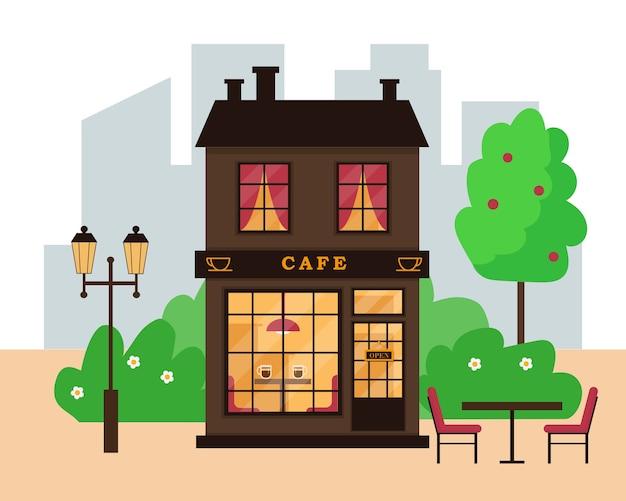 Budynek kawiarni ulicy w nowoczesnym mieście. kawiarnia na zewnątrz.
