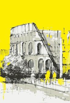 Budynek koloseum wyciągnąć rękę. ręcznie rysowane koloseum