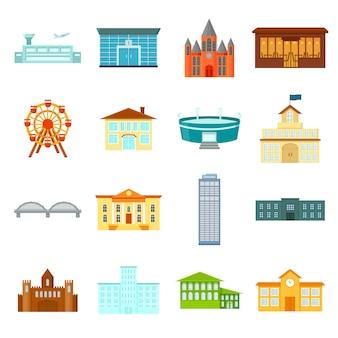 Budynek kreskówka wektor zestaw ikon. budynek ilustracji wektorowych.