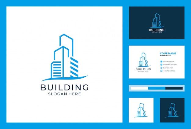 Budynek logo i projekt wizytówki. logo może być używane do architektury, nieruchomości, inwestycji, lądowania, pensjonatu, hotelu, willi.