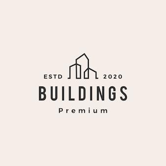 Budynek logo vintage hipster