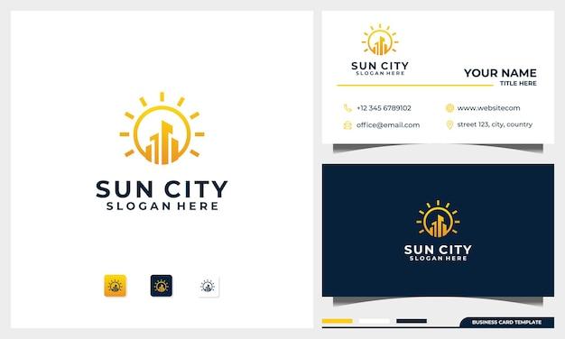 Budynek logo z koncepcją słońca i szablonem projektu wizytówki