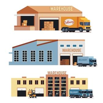 Budynek magazynowy, budowa przemysłowa i magazynowanie ikon wektorowych fabryki. zestaw ilustracji budynku magazynowego i dostawy ciężarówki