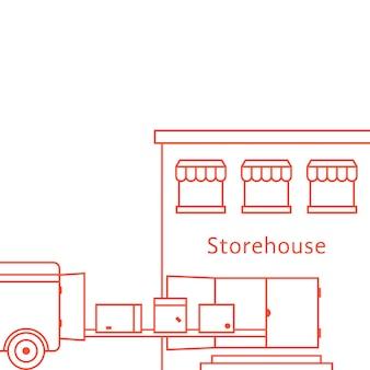 Budynek magazynu czerwona cienka linia. koncepcja ciężarówki, zapasów, zajezdni, ciężarówki, tranzytu, importu, eksportu, furgonetki, kuriera. na białym tle. styl liniowy trend nowoczesny design ilustracji wektorowych