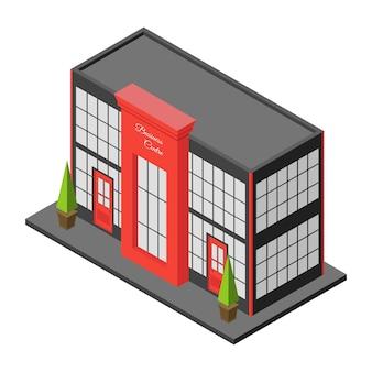 Budynek miasta izometryczny centrum biznesowego lub centrum handlowego. duża kamienica lub hotel