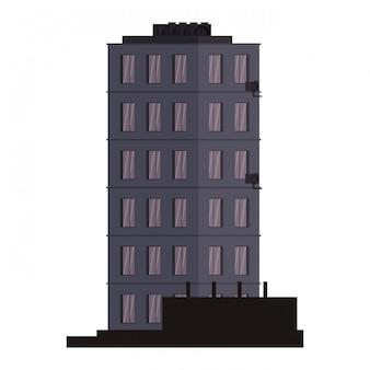 Budynek miasta na białym tle