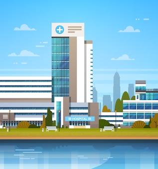 Budynek nowoczesnej kliniki szpitala na zewnątrz