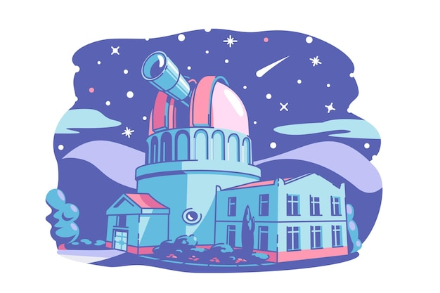 Budynek obserwatorium z ilustracji wektorowych teleskopu gwiazdy planety kometa asteroida na nocnym niebie płaska koncepcja nauki i astronomii na białym tle