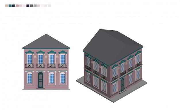 Budynek rządowy izometryczny dom administracyjny w stylu architektonicznym