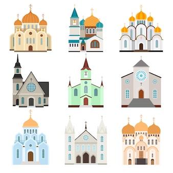 Budynek sanktuarium. chrześcijańska bazylika i kościół płaski styl, wektorowa ilustracja