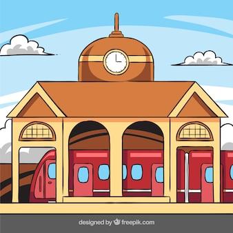 Budynek stacji kolejowej z zegarem