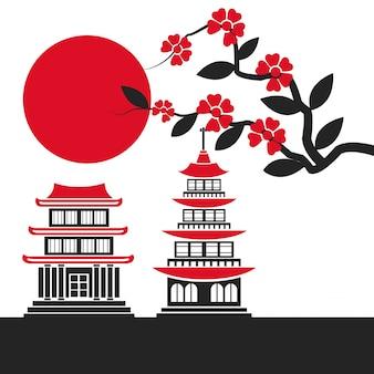 Budynek świątynia japonia punkt zwrotny słońca sakura plakat