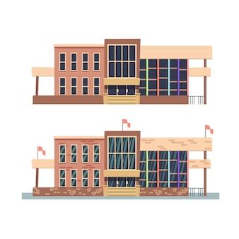 Budynek szkolny z teksturami i bez