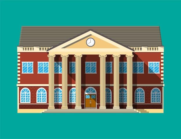Budynek szkoły. ceglana fasada z zegarami. publiczna instytucja edukacyjna. organizacja uczelni lub uniwersytetu, ilustracja w stylu płaski