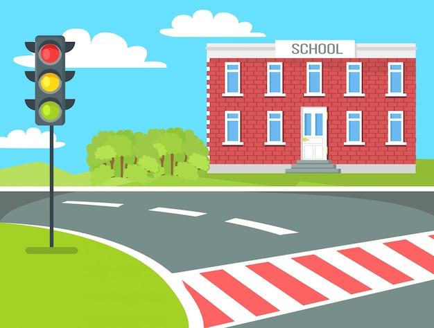 Budynek szkoły dla pieszych, stoisko sygnalizacji świetlnej