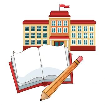 Budynek szkoły flaga ołówek książki