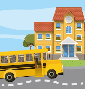 Budynek szkoły i autobus na scenie drogowej