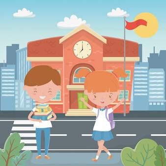 Budynek szkoły i dzieci