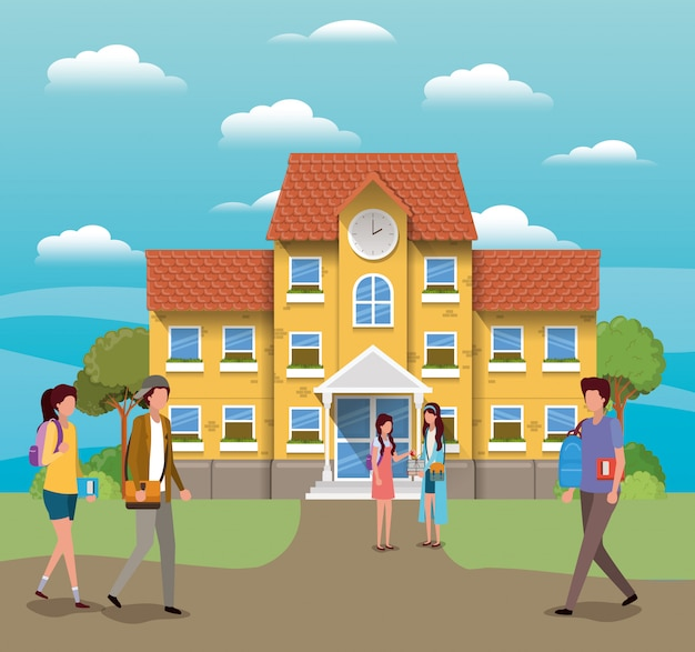 Budynek szkoły i uczniowie, lekcja edukacji uczą się nauki i informacji w klasie