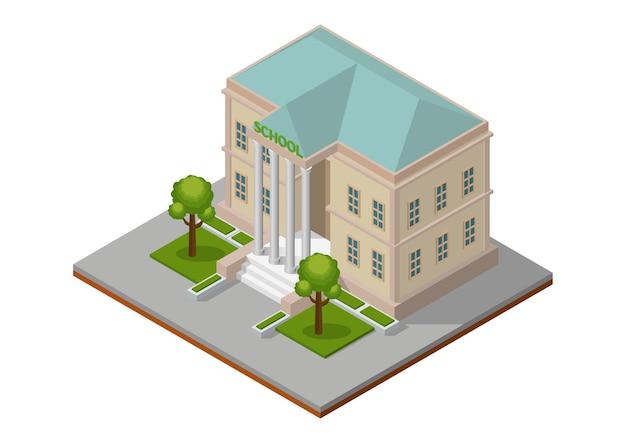 Budynek szkoły izometrycznej. budynek publiczny architektury miasta.