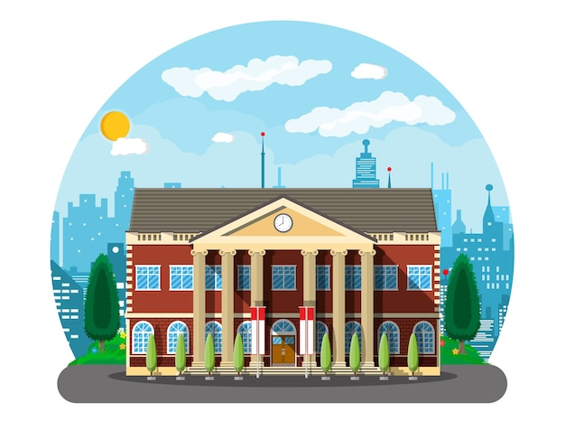 Budynek szkoły klasycznej i pejzaż miejski. ceglana fasada z zegarami. publiczna instytucja edukacyjna. uczelnia lub organizacja uniwersytecka. drzewo, chmury, słońce.