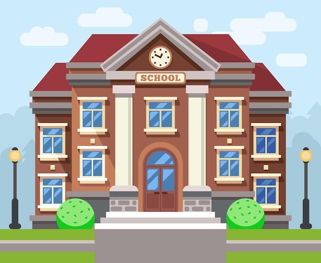 Budynek szkoły lub uniwersytetu. koncepcja edukacji płaski wektor. szkoła edukacyjna, szkoła budowlana, nauka szkoły lub ilustracji uczelni