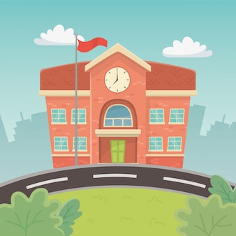 Budynek szkoły na scenie