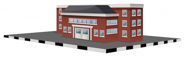 Budynek szkoły w projektowaniu 3d