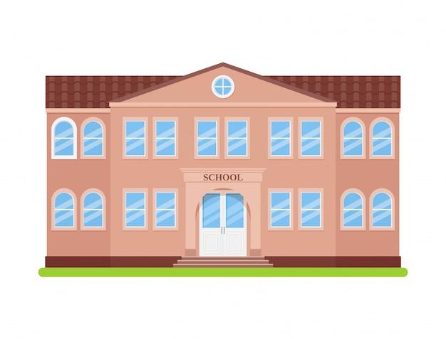 Budynek szkoły, widok z przodu budynku szkoły, fasada budynku edukacji,