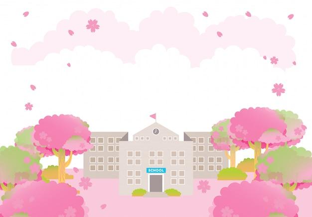 Budynek szkoły wiosna różowy sakura ceremonia ukończenia szkoły drzewo sezon