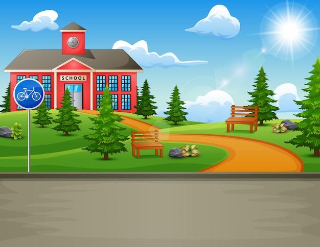 Budynek szkoły z piękną przyrodą