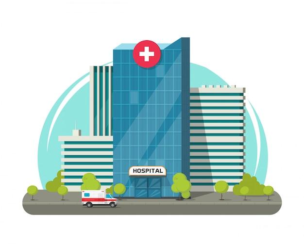 Budynek szpitala clipart lub nowoczesne centrum medyczne kliniki clipart