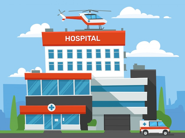 Budynek szpitala kreskówka. klinika ratunkowa, helikopter pilnej pomocy medycznej i samochód pogotowia ratunkowego. ilustracja centrum chorych