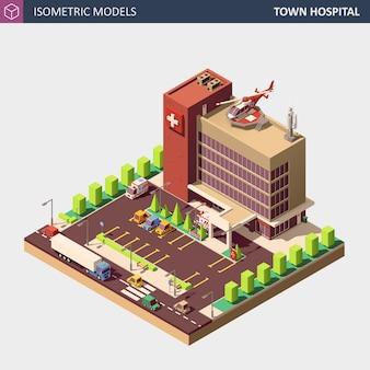 Budynek szpitala lub karetki pogotowia. ilustracja izometryczny urządzony.