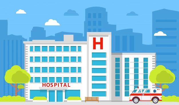 Budynek szpitala z karetką pogotowia